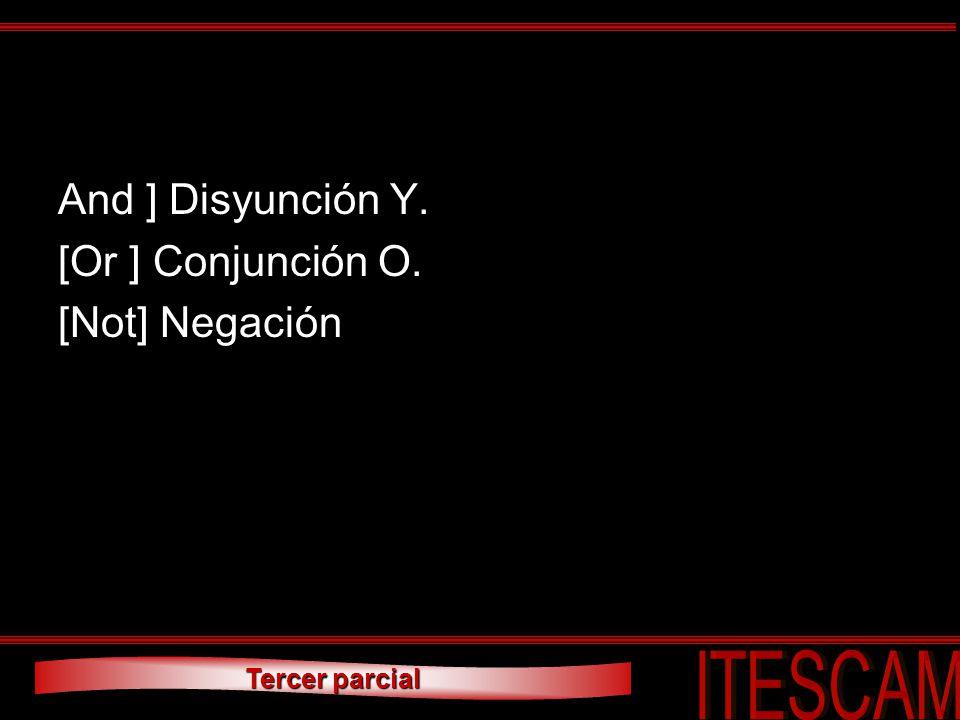And ] Disyunción Y. [Or ] Conjunción O. [Not] Negación